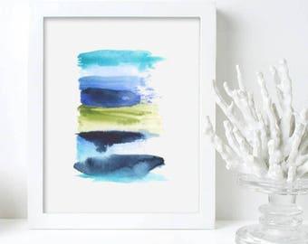 Original Art Blue Green Abstract Stripes Watercolor Art Print Gift for Her Wall Art- Stripe 1