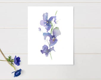 Purple Art / Original Abstract Painting/ Floral Watercolor / Art Print / Iris 2