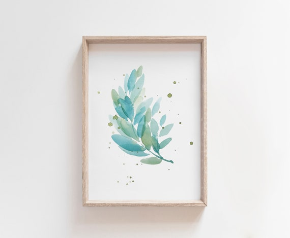 contemporary home decor neutral wall art painting giclee print Twig /& Bud #2 watercolour painting fine art print on paper or canvas
