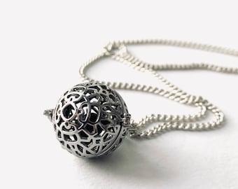 Cage Locket Charm - Cage Pendant - Locket Charm Necklace - Filigree Locket - Sterling Silver Jewelry - Dainty Locket