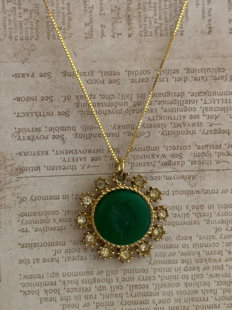Dark Green Pendant - Round Faceted Jade Pendant - Gold Plated Pendant -  Turkish Pendant - Turkish Jewelry