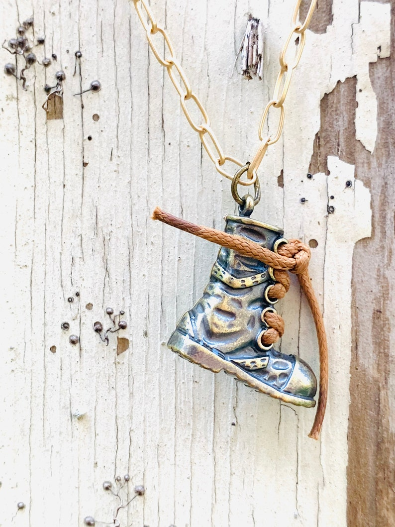 Boot Necklace Brass Hiking Boot Outdoor Adventure Hiking Boot Antique Brass Necklace Boot Charm