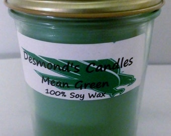 Desmond's Candles Homemade Scented North Texas (UNT) Mean Green (Apple Martini, Sports Blend Scent) Soy Jar Candle