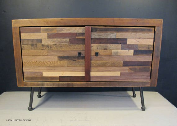Mid Century Modern Tv Stand Reclaimed Wood Media Console Etsy
