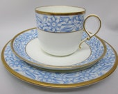 Grainger Worcester 1860 Blue White Antique China Cup Saucer Plate Trio