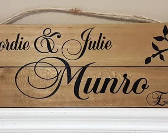 Beautiful Couple Names Wood Sign