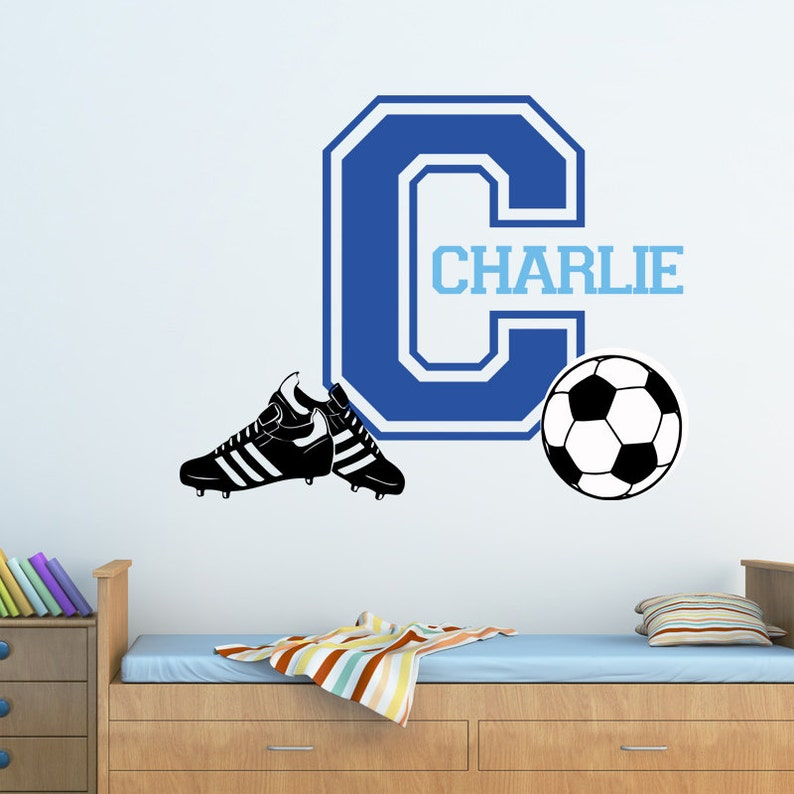 Personalised Footballs Soccer Balls Any Name Vinyl Wall Sticker Decal Any Room