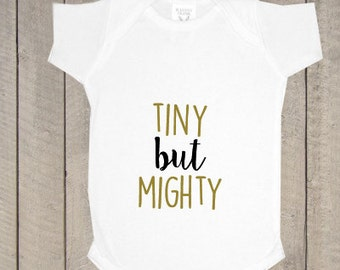 33f5ae0b Tiny but Mighty Bodysuit, Newborn Bodysuit, Baby Clothing, Newborn Outfit,  Baby Shower Gift, Baby Bodysuit