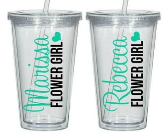 Flower Girl Personalized Tumbler, Flower Girl Gift, Flower Girl Cup, Flower Girl Tumbler, Jr. Bridesmaid Gift