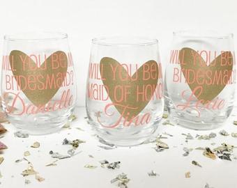 Will you be my bridesmaid? Will you be my maid of honor? Bridesmaid Proposal, Asking Bridesmaids, Will you be my bridesmaid wine glass