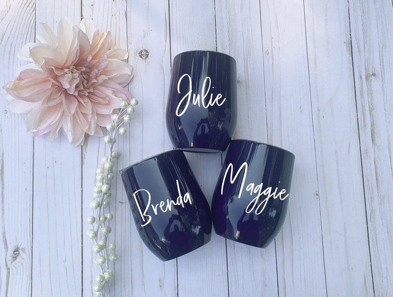 Custom Personalized Tumbler With Lid Navy Tumbler Bachelorette Gift Bridesmaid Gift Personalized Cup Wine Tumblers
