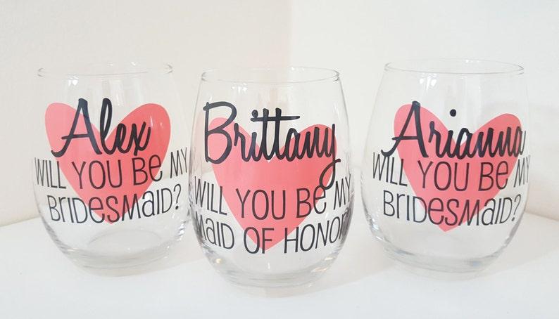 88750db3ba2 Will you be my bridesmaid Wine Glass Asking Bridesmaid | Etsy