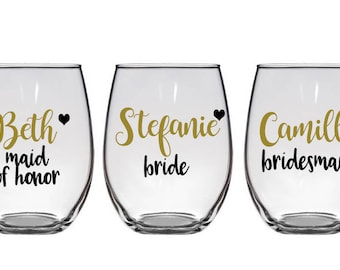 Personalized Bridal Party Wine Glasses, Bachelorette Party Wine Glasses, Bachelorette Glasses