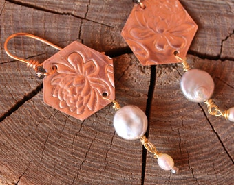 Hexagon copper and pearl earrings