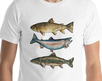 237803d15efc Trout Fish Fishing T-shirt Short-Sleeve Unisex T-Shirt Rainbow Brook Brown  Fly Fishing Dad Grandad Gift Fisherman Gift