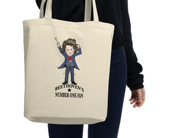 40494e666 Beethoven Tote 100% Organic Cotton Tote Bag Hand Drawn Caricature for  Conservatorium Student Musicians & Piano Teachers Classical Music Gift
