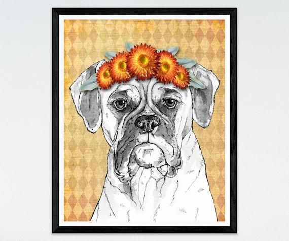 Boxer Dog Boxer Dog Art Boxer Dog Print Dog Decor Dog Wall Art | Etsy