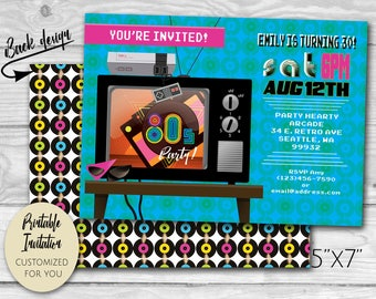 Totally 80's Retro TV | Eighties Arcade Party Invitation | Printable PDF and JPG