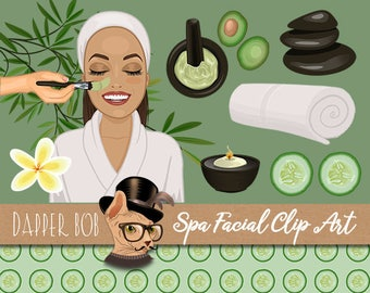 Woman Pampering Spa Facial Clip Art Collection | PNG Clipart Elements and Cucumber Background