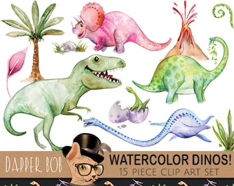 Watercolor Hand-Painted Dinosaurs Clip Art Collection | Dinosaur T-Rex PNG Clipart and Digital Paper Set