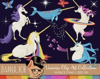 Unicorns Clipart Collection | Rainbow Unicorn Clip Art Set PNG Elements