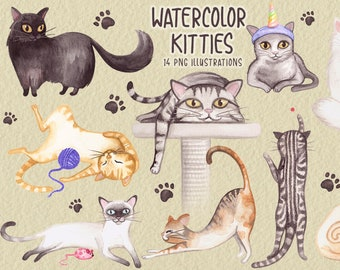 Watercolor Whimsical Cat PNG Clip Art Collection