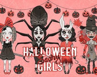 Halloween Scary Girls Characters Set