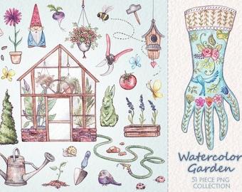 Watercolor Garden PNG Elements Clip Art Collection