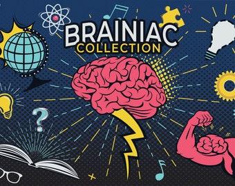 Brainiac Brain Superpower Trivia Quiz Graphics Clip Art Collection