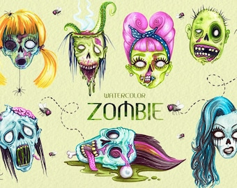 Watercolor Pop Art Style Zombie Heads  PNG Clip Art Collection