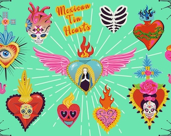 Mexican Tin Hearts PNG Clip Art Collection | Milagro Day of the Dead Clipart Graphics