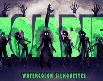 Watercolor Zombie Horde Silhouettes Halloween PNG Clip Art Collection