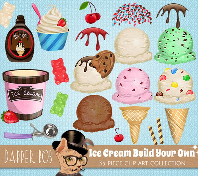 Build Your Own Ice Cream Cone Clip Art Collection Digital PNG Candy Treats Clipart Set