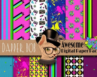 Awesome 80's Digital Paper Pack for Scrap-booking and Paper Craft