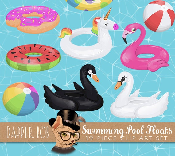Swimming Pool Floats Clip Art Collection | Cute Summer Floaties PNG Clipart  Element Graphics Set