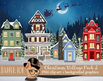 Christmas Winter Village Clip Art Collection | PNG Digital Graphic Elements