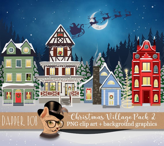 Christmas Winter Village Clip Art Collection PNG Digital ...