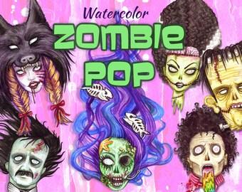 Watercolor Zombie Pop Illustrations Set