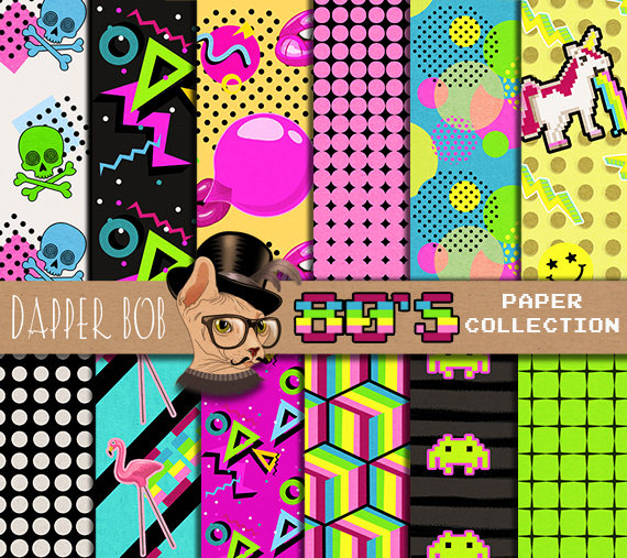 80's Background Patterns Digital Paper Collection | 12x12 inch 300 dpi  Eighties Party Scrapbook/Papercraft Designs