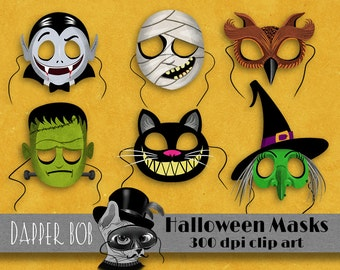 Halloween Character Masks Digital Clip Art Elements for Scrap-booking and Paper Craft