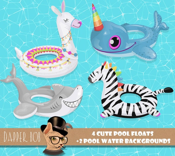 Swimming Pool Float Collection | PNG digital Llama, Narwhal, Shark and  Zebra Clipart Floats