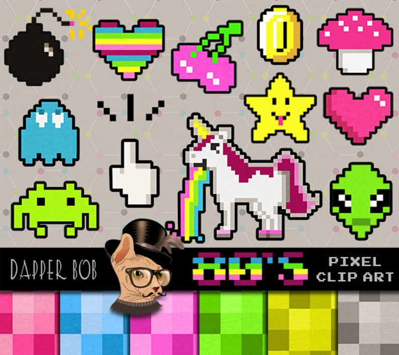 Retro 80's Gamer Pixel Art Clipart Character Collection | PNG Elements and  Background Pixelated Scrapbook Paper Craft Papers