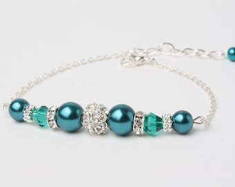 Bracelet chic mariage perles vertes emeraude