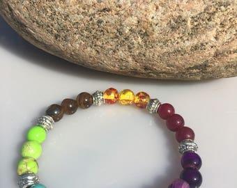 Bracelet chakras pierre de lune Bracelet boudha, bracelet de yoga, bracelet de méditation, Bracelet en pierre, cadeau, chakkra bracelet
