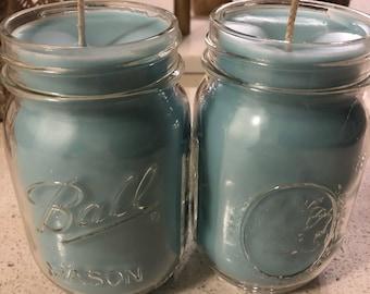 Homemade mason jar candles