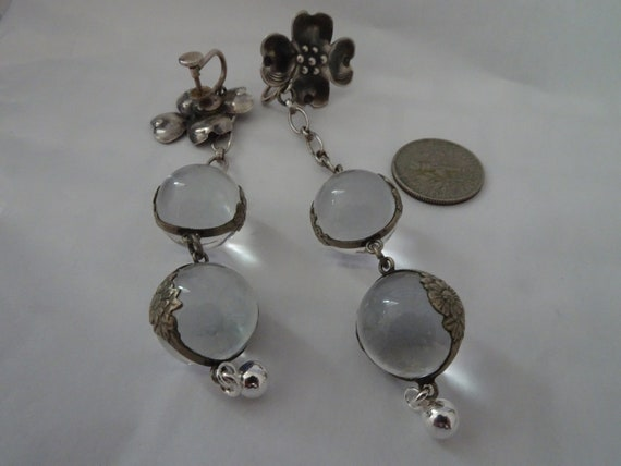 Vintage Sterling Silver Double Pools of Light Earr