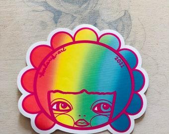 "Vinyl sticker, rainbow pride gretchen, 3.5"" tall, Hydro flask sticker, laptop slap, kosharek art, kawaii, gift for teen, twloha, matte slap"