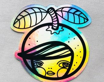 Laptop sticker, street artist slap, collectible sticker, holographic hologram, 2020 gift sticker, kosharek art, citrus, orange, gal, rainbow