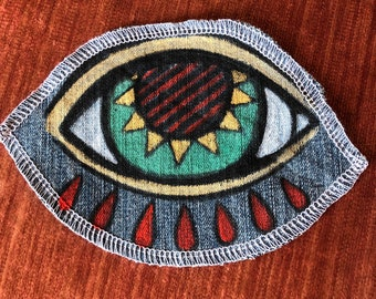 Hand painted patch on denim, sew on patch, one of a kind, Jean bling, original art, kosharek art, Third eye, all seeing eye, jacket decor