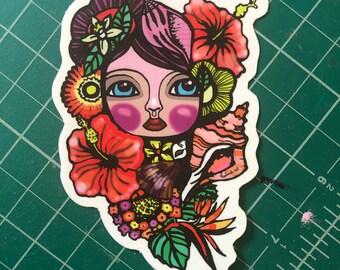 Laptop sticker, street artist slap, collectible sticker, character drawing, tropical gift, kosharek art, unique vinyl sticker, Key West